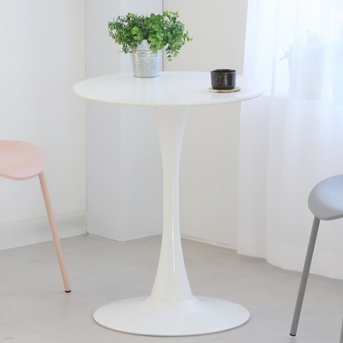 더조아가구 유니테이블600원형 화이트 식탁 라운드테이블 노트북테이블 카페용테이블 티테이블 업소용테이블