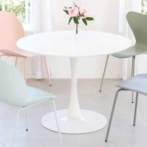 더조아가구 유니테이블 1000원형 화이트 식탁 라운드테이블 노트북테이블 카페용테이블 티테이블 업소용테이블