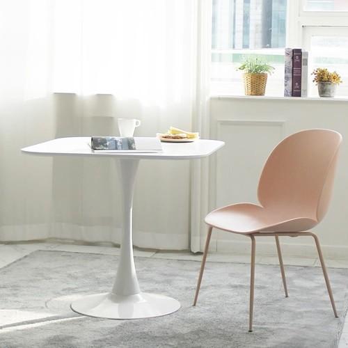 더조아가구 유니테이블 800사각 화이트 식탁 라운드테이블 노트북테이블 카페용테이블 티테이블 업소용테이블