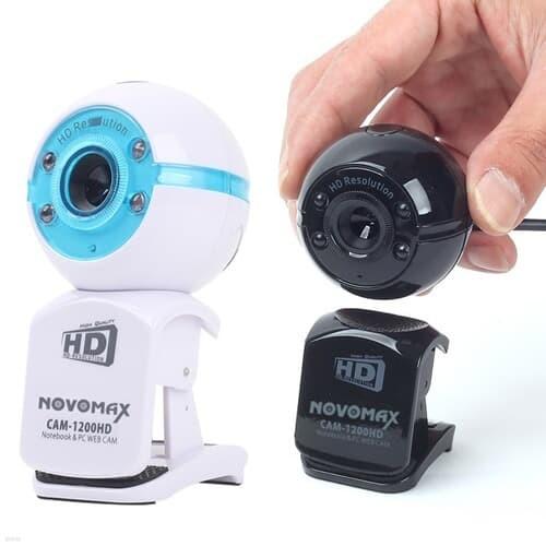 NOVOMAX 1300만화소 고해상도 PC 웹캠 화상카메라 고감도마이크 4구 LED조명 탈부착가능