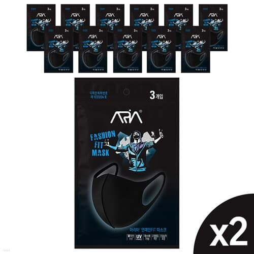 아리아 연예인 핏 마스크 3매입 X 24팩