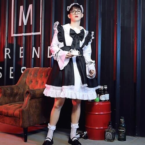 남자 남성 메이드복 코스프레 3size [빅사이즈 하녀복 졸업사진 할로윈 의상 옷 여장코스프레 코스튬]