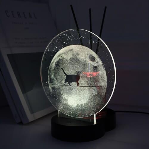 NEW 플렌느 인테리어 LED 아크릴 달 무드등 디퓨저 블랙체리
