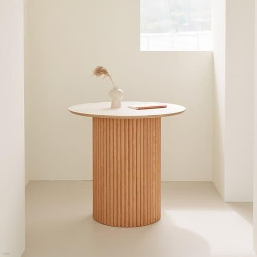 오브제 호마이카 원형 테이블 2인/4인 원목 카페 식탁 국내제작 2size
