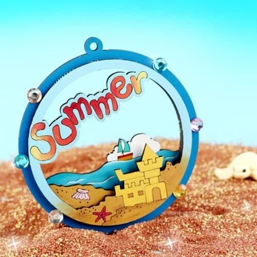 스쿨문구 MDF DIY 여름 입체 오너먼트 만들기 모래성
