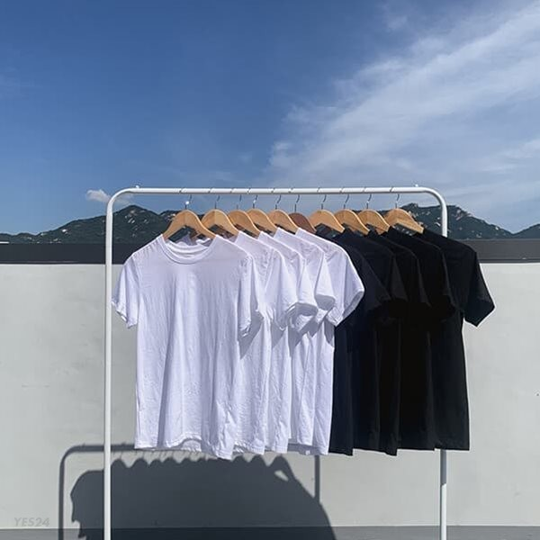 [5장 세트]사계절 베이직 레이어드 기본 반팔 티셔츠 블랙&화이트