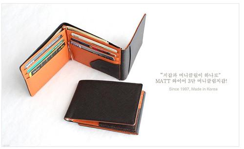 와이어 콤비 3단 머니클립(진밤+오렌지)w22034