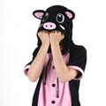 반팔 동물잠옷 돼지 (블랙) / 복돼지