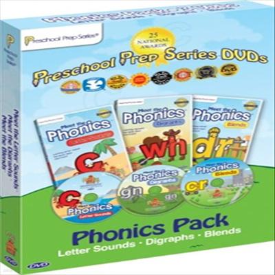 Meet the Phonics Pack - 3 DVD Boxed Set : Meet the Letter Sounds, Meet the Digraphs & Meet the Blends (파닉스)