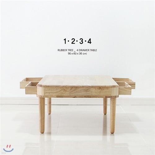 [벤트리] 원목 4서랍 테이블