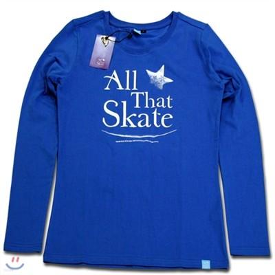 김연아 Yuna Kim 낙원댄스 올댓스케이트 All That Skate 아이스쇼 공식 티셔츠  올댓스포츠 티 여성용 긴팔 블루 S, M 사이즈