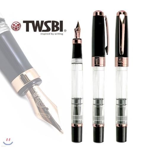 [TWSBI] 다이아몬드 580 블랙(TWSBI Diamond 580 Black with Rose gold trims)