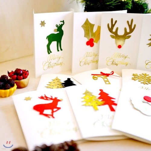 크리스마스 화이트 골드 펠트 카드