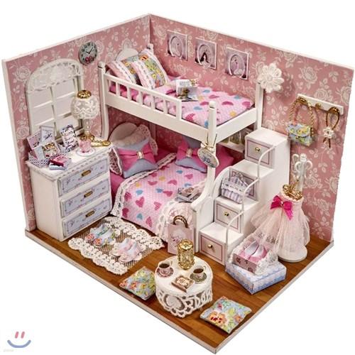 [adico] DIY미니어처 하우스 - 핑크 2층 침대방 new