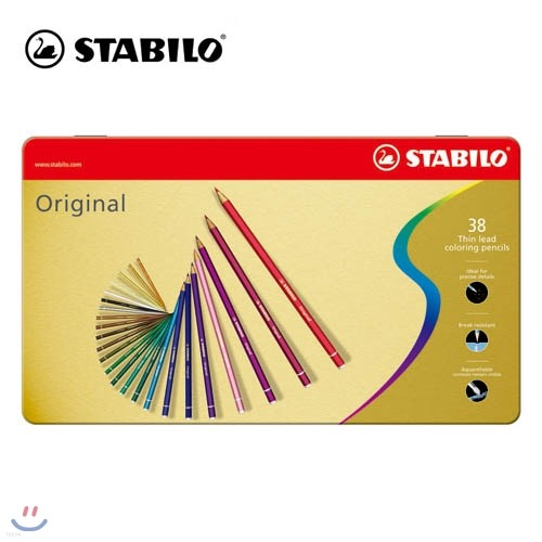 [STABILO] 스타빌로 오리지널 색연필 Original 38C 메탈박스 세트