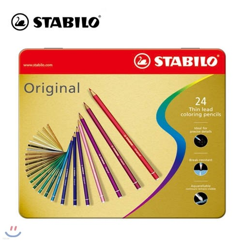 [STABILO] 스타빌로 오리지널 색연필 Original 24C 메탈박스 세트
