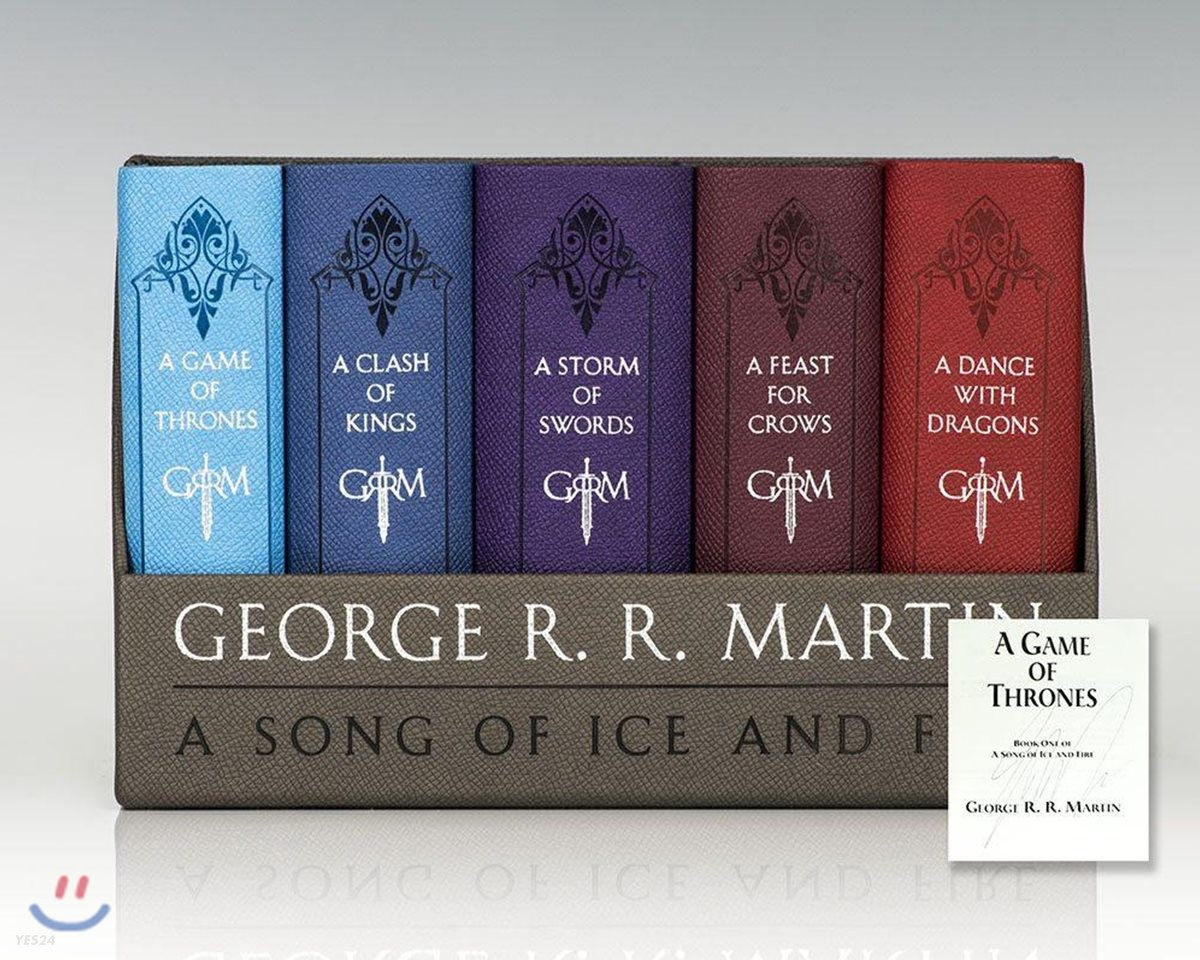 A Game of Thrones Leather-Cloth Boxed Set: A Game of Thrones, a Clash of Kings, a Storm of Swords, a Feast for Crows, and a Dance with Dragons