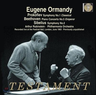 Artur Rubinsten / Eugene Ormandy 베토벤: 피아노 협주곡 5번 `황제` / 시벨리우스: 교향곡 2번 / 프로코피에프: '고전' 교향곡 (Beethoven: Piano Concerto 'Emperor' / Sibelius / Prokofiev: Symphonies)