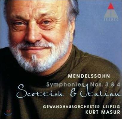 Kurt Masur / Mendelssohn : Symphonies No.3, No.4 (수입/미개봉/8573809702)