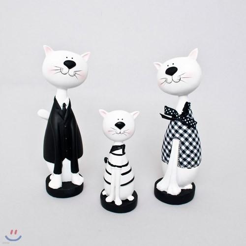 젠틀맨 고양이가족 장식인형