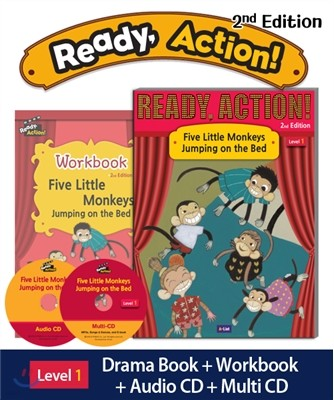 Ready Action Level 1 : Five Little Monkeys Jumping on the Bed (SB+WB+Audio CD+Multi-CD)
