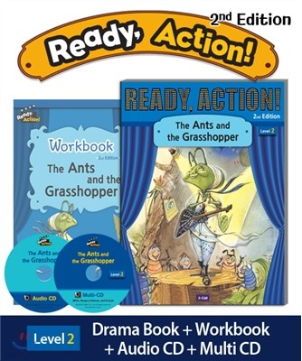 Ready Action Level 2 : The Ants and the Grasshopper (SB+WB+Audio CD+Multi-CD)