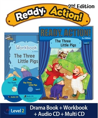 Ready Action Level 2 : The Three Little Pigs (SB+WB+Audio CD+Multi-CD)