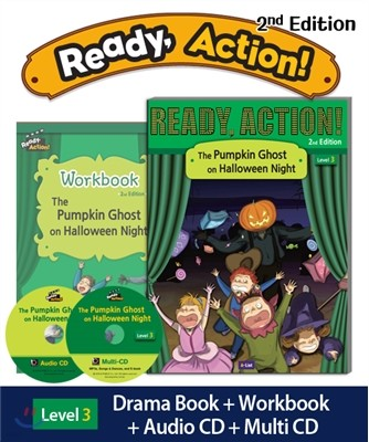 Ready Action Level 3 : The Pumpkin Ghost on Halloween Night (SB+WB+Audio CD+Multi-CD)