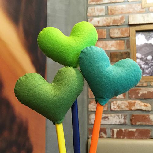 [DIY]heart pencil topper-green type