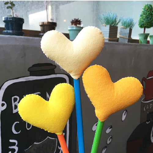 [DIY]heart pencil topper-yellow type