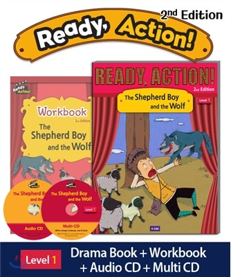 Ready Action Level 1 : The Shepherd Boy and the Wolf (SB+WB+Audio CD+Multi-CD)