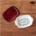 마메종 블루로즈 양수그라탕기와 우드받침 세트