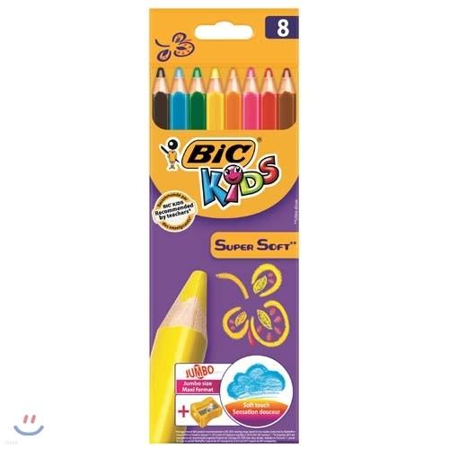 빅 Bic 슈퍼소프트 점보 색연필 8색(연필각이 내장)