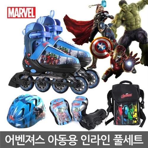 어벤져스 아동용 인라인스케이트 세트(헬멧+보호대+가방)/사이즈조절가능