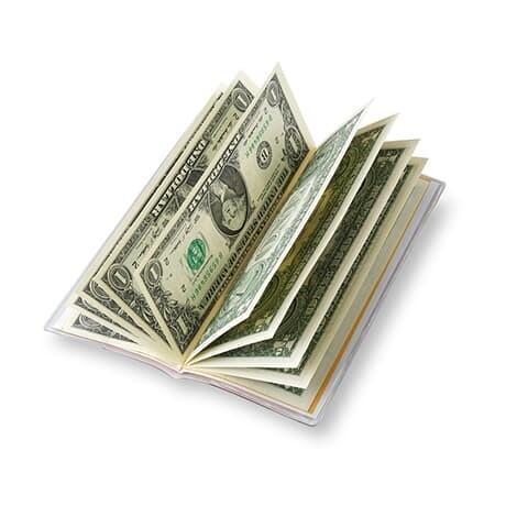 10$ 달러북(Luckydollar book) : 진짜 달러 신권지폐 1달러 10장 (표지색상은 레드,화이트,블랙,옐로우,골드 중 랜덤발송)