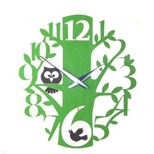 [하이모리] 타임데코 Birds & Owls Clock Olive Green(저소음) [벽시계/인테리어소품/저소음시계]