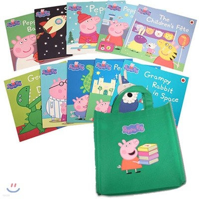 Peppa Pig 10 Books collection in Green Bag : 페파 피그 원서 10종 + 가방 세트