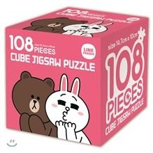 라인프렌즈 큐브 직소 퍼즐 108조각 브라운과 코니