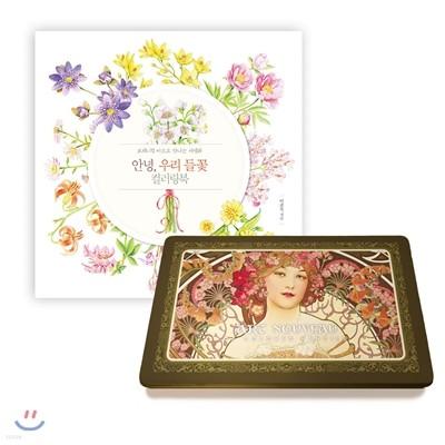 안녕, 우리 들꽃 컬러링북  + 아르누보 색연필 틴 36색 세트