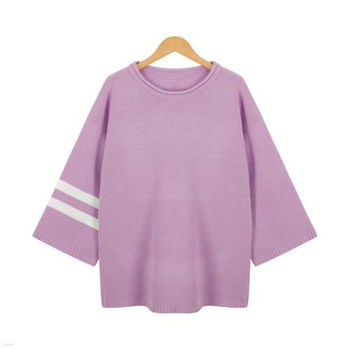 [드레스날다] 돌돌 배색 루즈핏 라운드 니트(knit356)