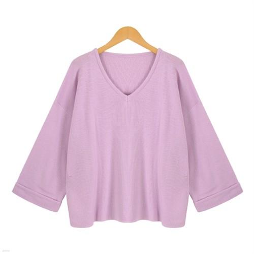 [드레스날다] 쇼바리 옆트임 롤업 브이넥 니트(knit358)