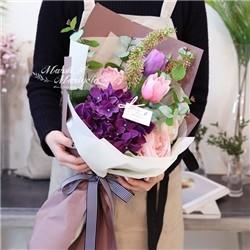퍼플 수국 튤립 믹스 꽃다발
