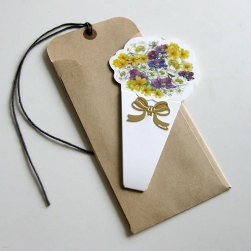 [북마크 택카드] 한아름 꽃다발 - 센스쟁이당신에게 꼭 필요한 북찌 책갈피 택카드