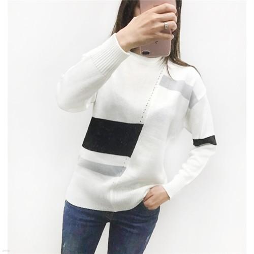 [드레스날다] 모던 단가라 배색 라운드 니트(knit363)