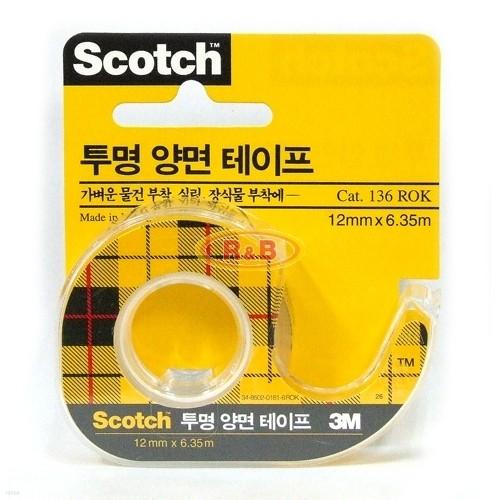 [알앤비]3M 쓰리엠 투명 양면테이프 12mmX6.35m/사무용품