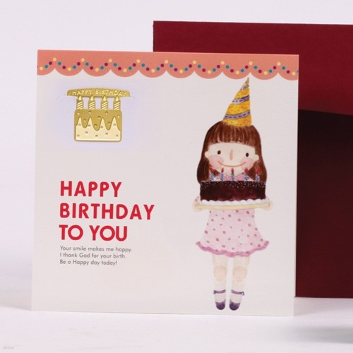 [책갈피 카드] 케익소녀 - 18k금장책갈피+카드+봉투
