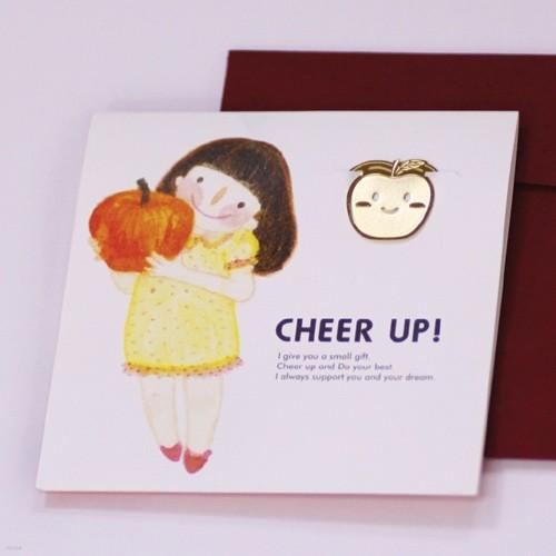[책갈피 카드] 사과소녀 - 18k금장책갈피+카드+봉투
