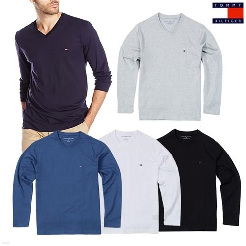 타미힐피거 긴팔 라운드 티셔츠 긴팔 브이넥 티셔츠