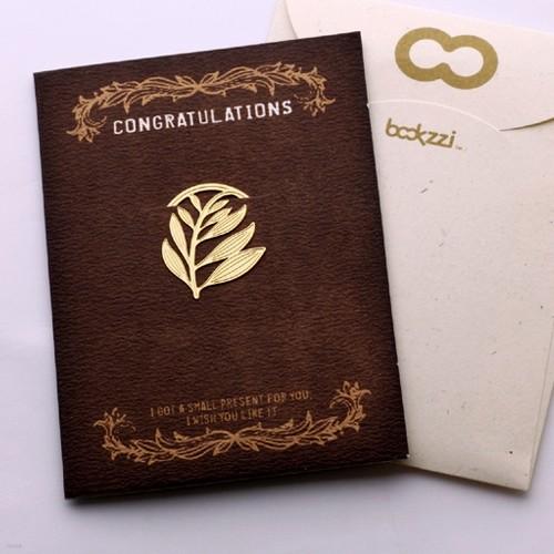 [책갈피 카드] 엔틱 종려나무 - 18k금장책갈피+카드+봉투