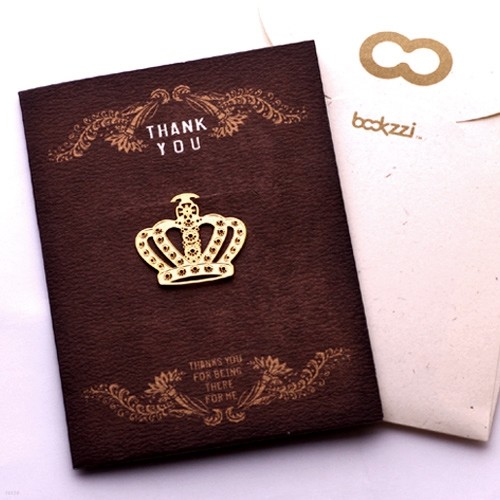 [책갈피 카드] 엔틱 왕관 - 18k금장책갈피+카드+봉투